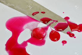 knife and cotton with pink blood stock photo picture and royalty
