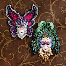 wall masks design toscano maidens of mardi peacock princess gras