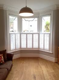 cafe style shutters on a victorian bay all closed for the home