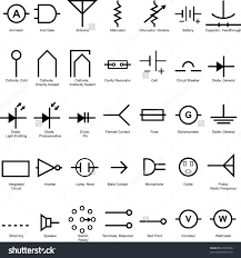 electrical symbol icon set isolated on stock vector a white