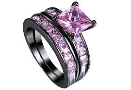 black wedding rings with pink diamonds black gold and pink engagement rings wedding rings model