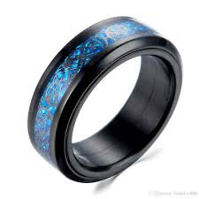 all black rings images Carbon fiber ring black blue color glow in the dark dragon spinner jpg