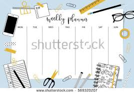 weekly planner template organizer schedule place stock vector
