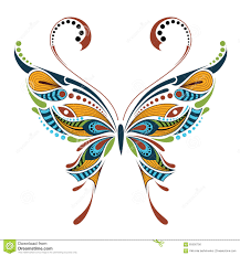 patterned colored butterfly african indian totem tattoo