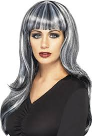 black hair with grey streaks smiffys sinister siren wig long wavy with fringe and streaks