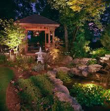 Landscape Path Lights by Japanese Zen Garden Landscape Asian With Pond Water Feature Dusk