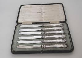 antique set of six 6 sterling silver fruit knives walker u0026 hall