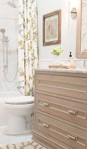 Dresser Style Bathroom Vanity by Beach Cottage Bathroom With Antique Gray Dresser Like Washstand