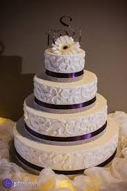 eggplant ribbon scroll pattern with eggplant ribbon and diamond overlay this 4 tier