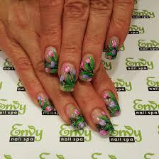 pink u0026 purple tulips flower nails envy nail spa flowers