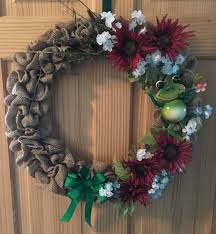 handmade burlap frog wreath wreaths for sale wreaths