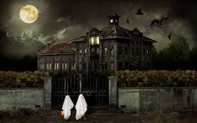 haunted halloween house with full moon stock photo picture and