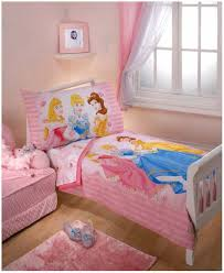 bedroom with disney princess bedding and pastel wall colors