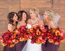 fall bridal bouquets fall wedding bouquet set autumn wedding flowers orange