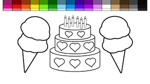 learn colors for kids and color heart layered cake with double ice