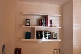 Distressed White Bookcase by Interior Floating Bookshelves Floating Wall Shelves Wood Slim