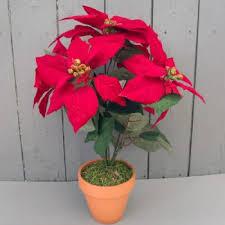 artificial 45cm poinsettia plant in terracotta pot permabloom