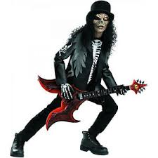 Metal Halloween Costumes Cryptic Rocker Death Metal Skull Slash Boys Child Costume Size