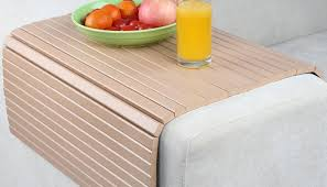 sofa arm rest tray couch chair 50x30 cm cover bamboo wood table