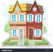 illustration duplex house dissimilar colors stock vector 110172320
