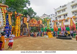 Decoration Of Durga Puja Pandal Kolkata India October 21 2015 Beautiful Stock Photo 484442266