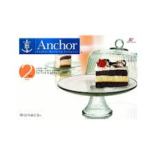 anchor hocking monaco cake set u0026 ribbed dome cake stand u0026 punch
