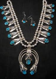 turquoise necklace sets images Navajo native american turquoise squash blossom necklace set jpg