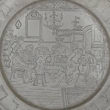 personalized pewter plate large and impressive german antique finely engraved judaica pewter