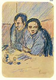 man and woman in café study 1903 pablo picasso wikiart org
