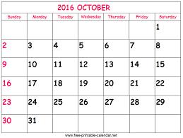 october 2016 calendar free printable 2016 oct calendar