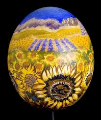 painted ostrich egg custom sunflower fields painted ostrich egg collectible
