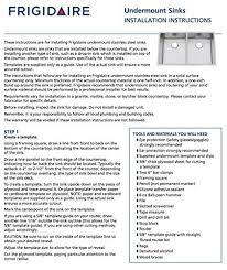 Kitchen Sink Installation Instructions by Frigidaire Undermount Stainless Steel Kitchen Sink 10mm Radius