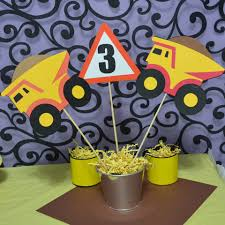 Construction Themed Centerpieces by Construction Dump Truck Themed Table Topper Centerpiece 3pc Set