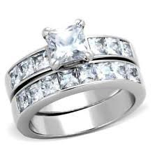 stainless steel wedding ring sets stainless steel wedding ring set ebay