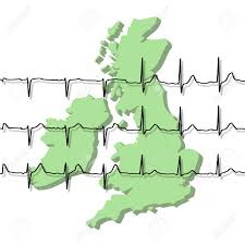 3d outline map of uk and ireland overlaid with ecg graph stock