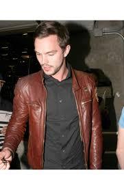 mens black leather motorcycle jacket nicholas hoult motorcycle jacket mens brown leather biker jacket