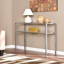 modern chrome metal glass top sofa console hall entry table