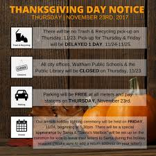 thanksgiving no school all city offices wpl closed trash