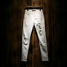 Skinny White Jeans Mens Ripped Denim White Jeans Men Biker Distressed Jeans Mens Skinny