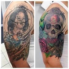 before and after skull cover up by caban guardian