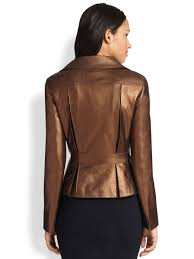 vented leather motorcycle jacket akris punto perforated metallic leather moto jacket in brown lyst