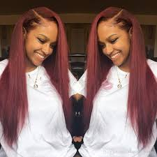 a side part with long hair and a swoop and a cross side part 99j burgundy glueless full lace wig front lace wig
