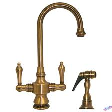 whitehaus kitchen faucets whitehaus vintage iii 2 handle gooseneck spout side sprayer