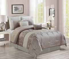 Ivory Comforter Set King 7 Piece Grace Taupe Ivory Comforter Set