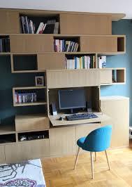 création d une bibliothèque avec bureau intégré modern home