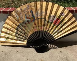 oriental fans wall decor asian fan wall decor etsy
