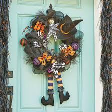 Halloween Wreath Witch Legs Amazon Com Halloween Wreath Door Hanger With Witch Hat Legs