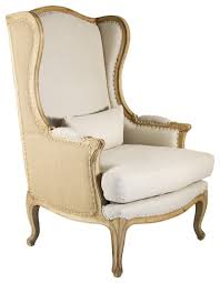 High Back Accent Chairs Leon French Country High Back Linen Wing Chair Traditional Linen