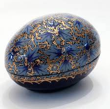 paper mache egg blue and gold egg shaped paper mache box buy now home from india