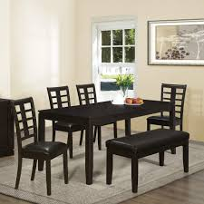 dining room dining room table with bench seats vases wooden black